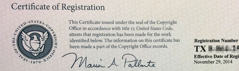 Copyrights: top of an issued copyright registration
