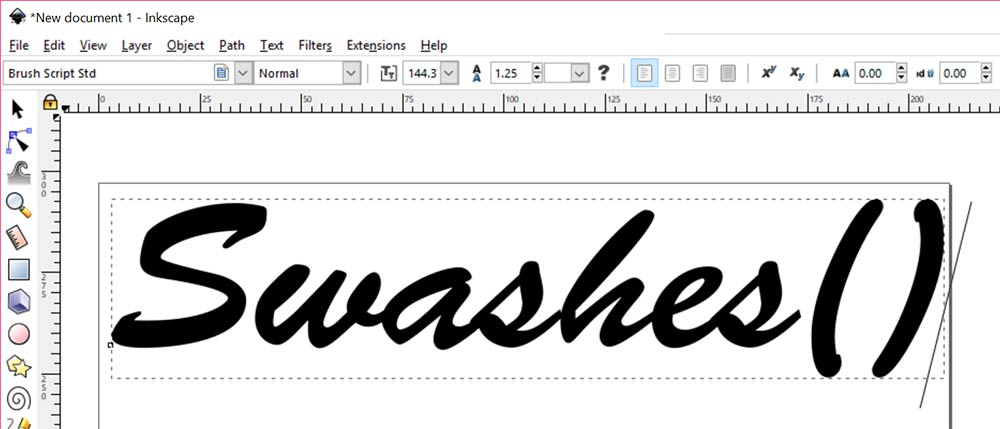 Swashes: type out text and parentheses