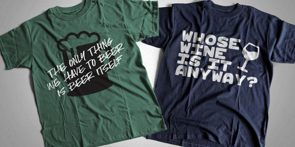 Sample phrases on shirts