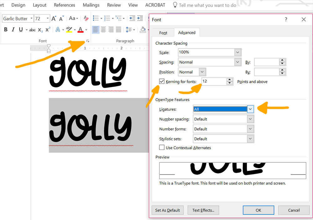 Program Comparison: Word OpenType features