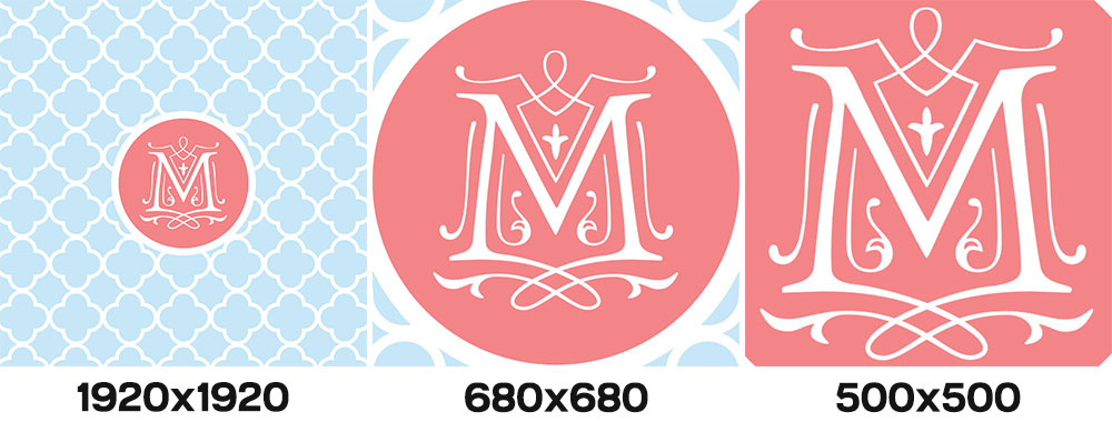 Tracing: sizes from the Monogram It app