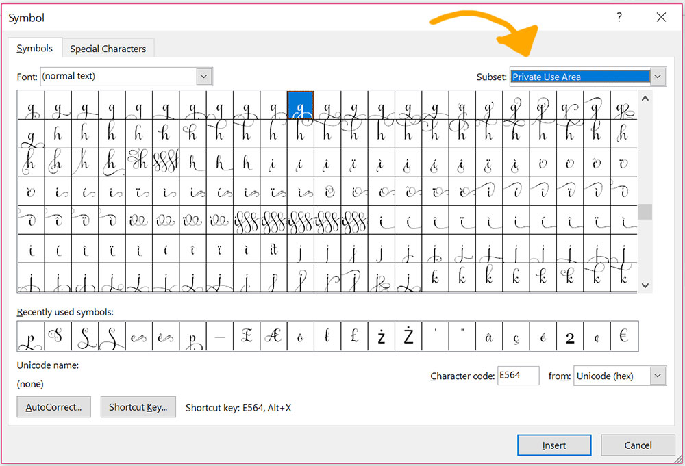 Program Comparison: Word Symbols panel