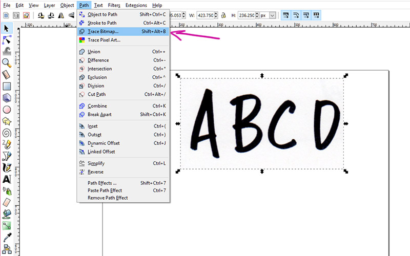 Font101 - trace to vector in Inkscape