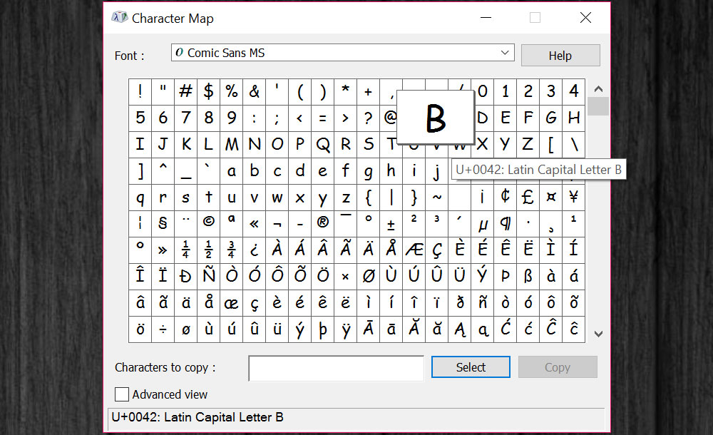 Managing Fonts: Windows Character Map