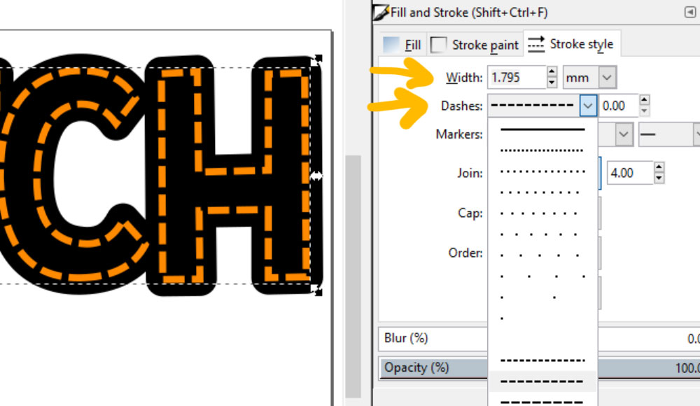 Stitch Inkscape: editing dashes