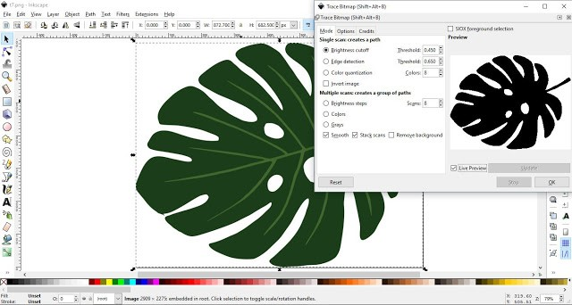 How to convert a JPEG/PNG to a Vector in Inkscape 5