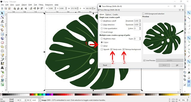 How to convert a JPEG/PNG to a Vector in Inkscape 6