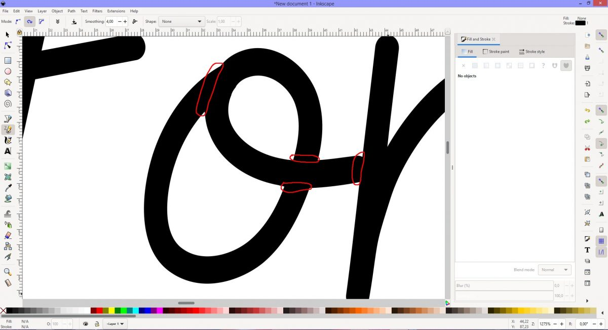 Remove marked areas Inkscape