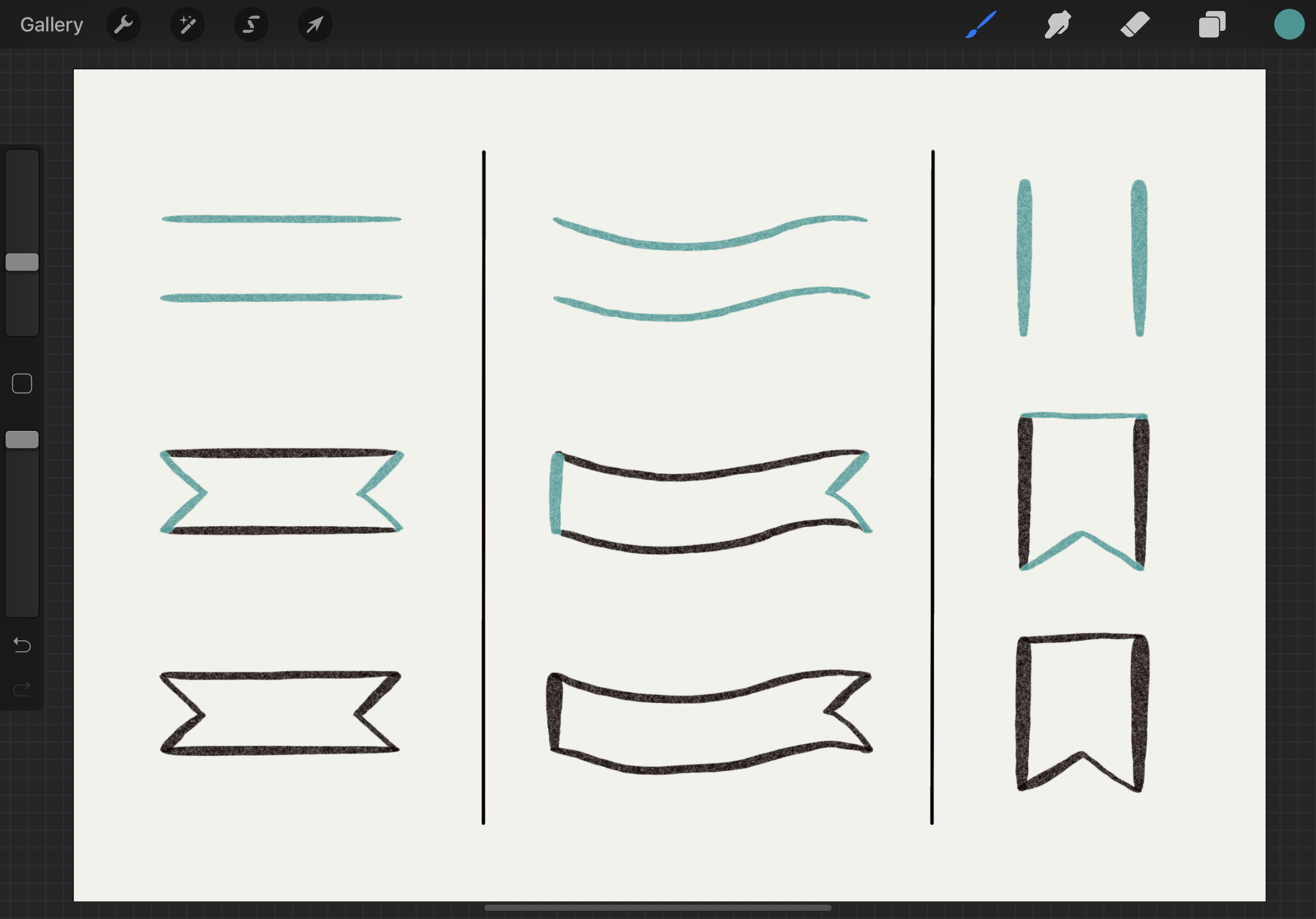 Basic Ribbon Banners in Procreate