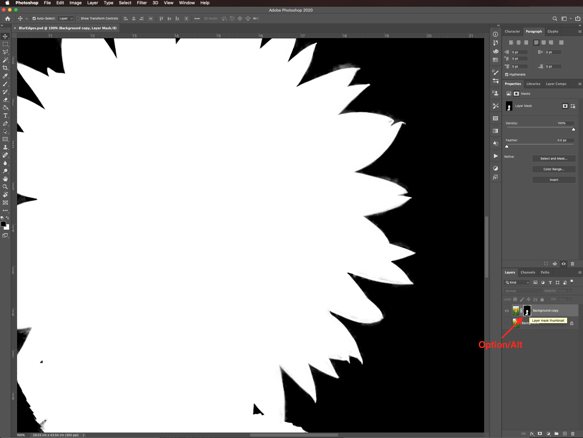 Mask mode in Photoshop