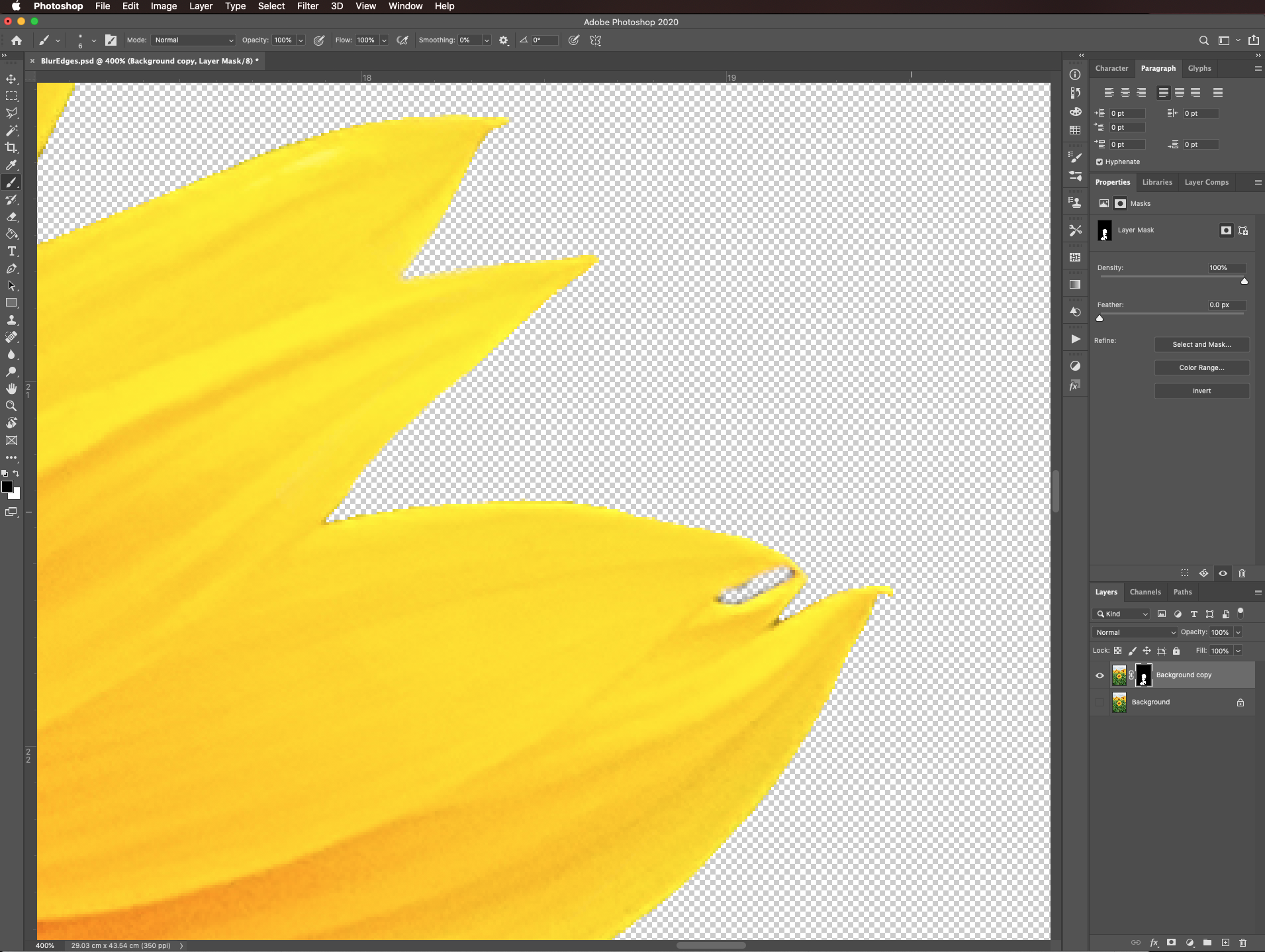 Cleaned edges in Photoshop