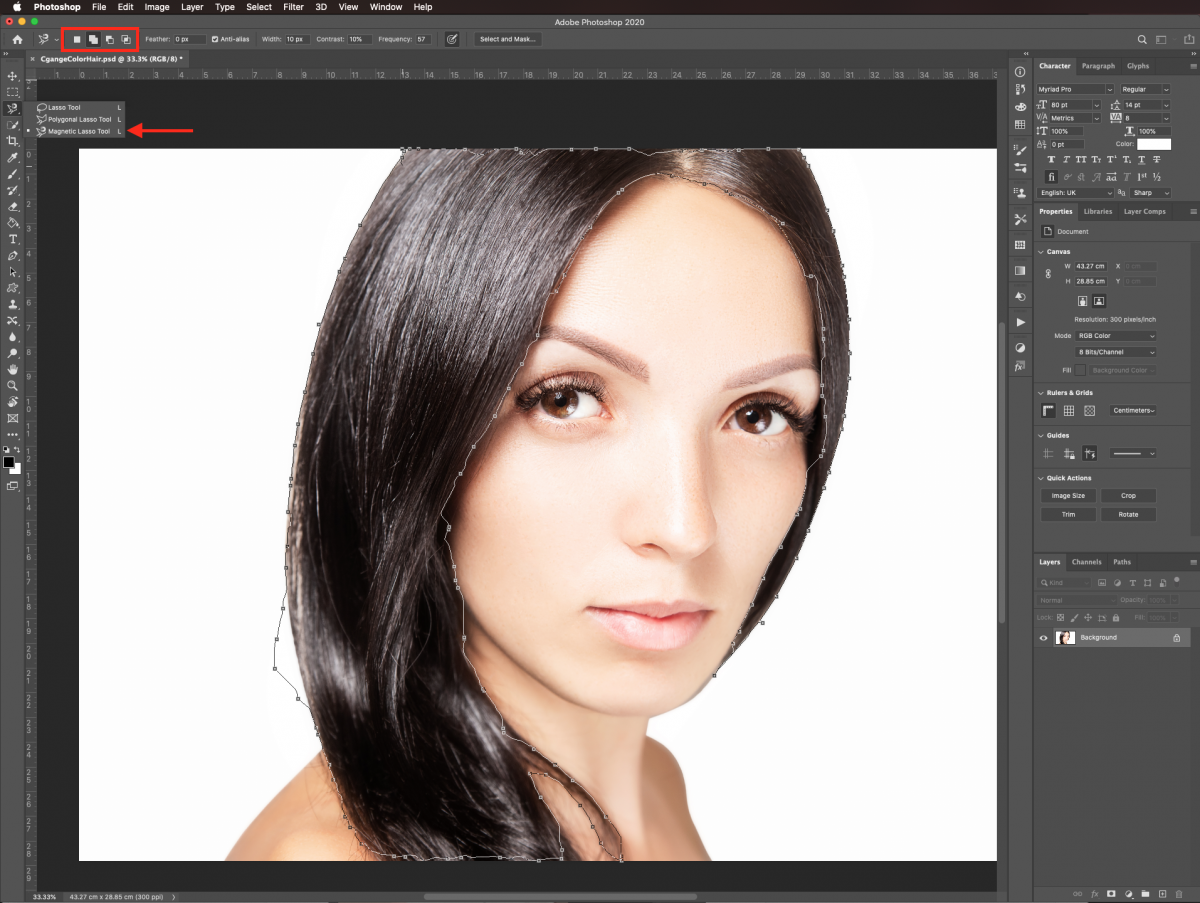 Magnetic lasso tool in Photoshop