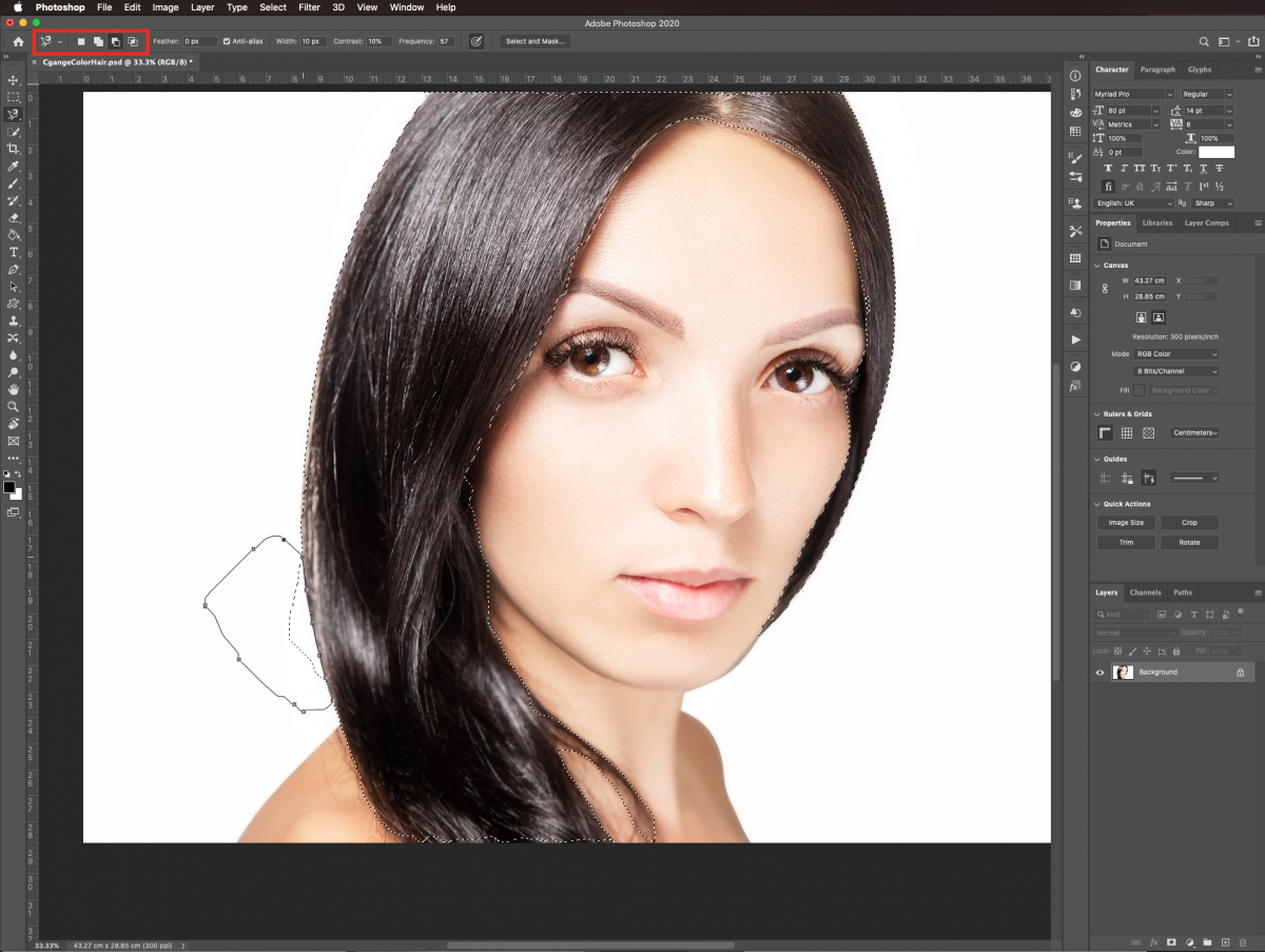 Subtract from selection in Photoshop