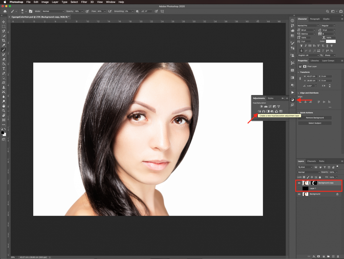 Hue/Saturation adjustment layer in Photoshop