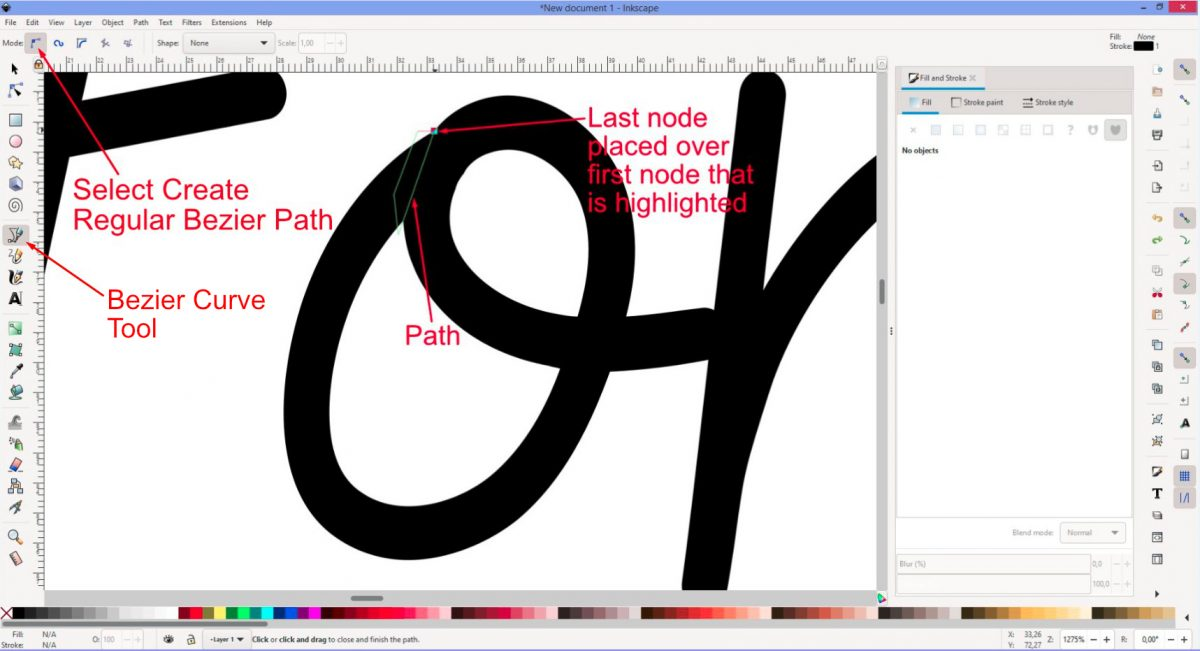 Complete the path Inkscape