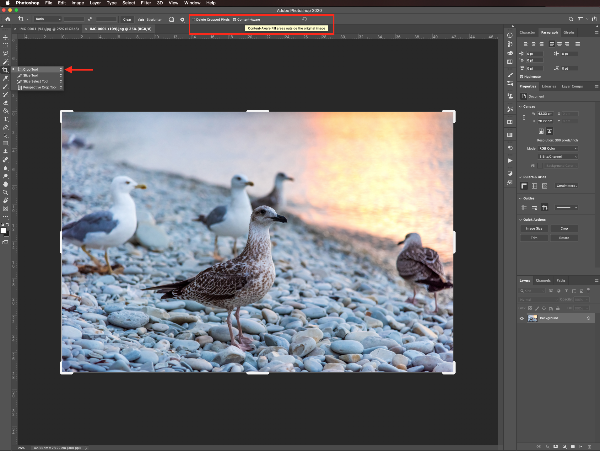 Content aware crop in Photoshop