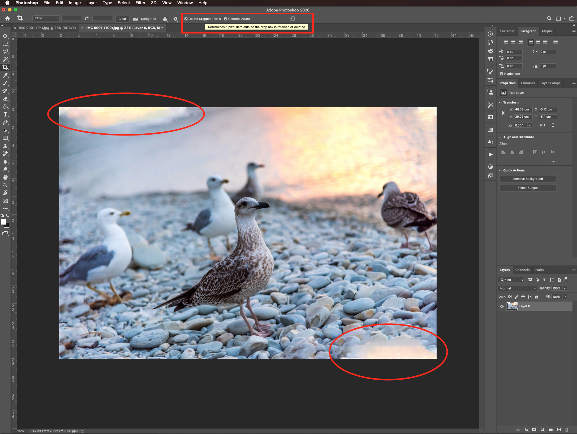 Delete cropped pixels in Photoshop