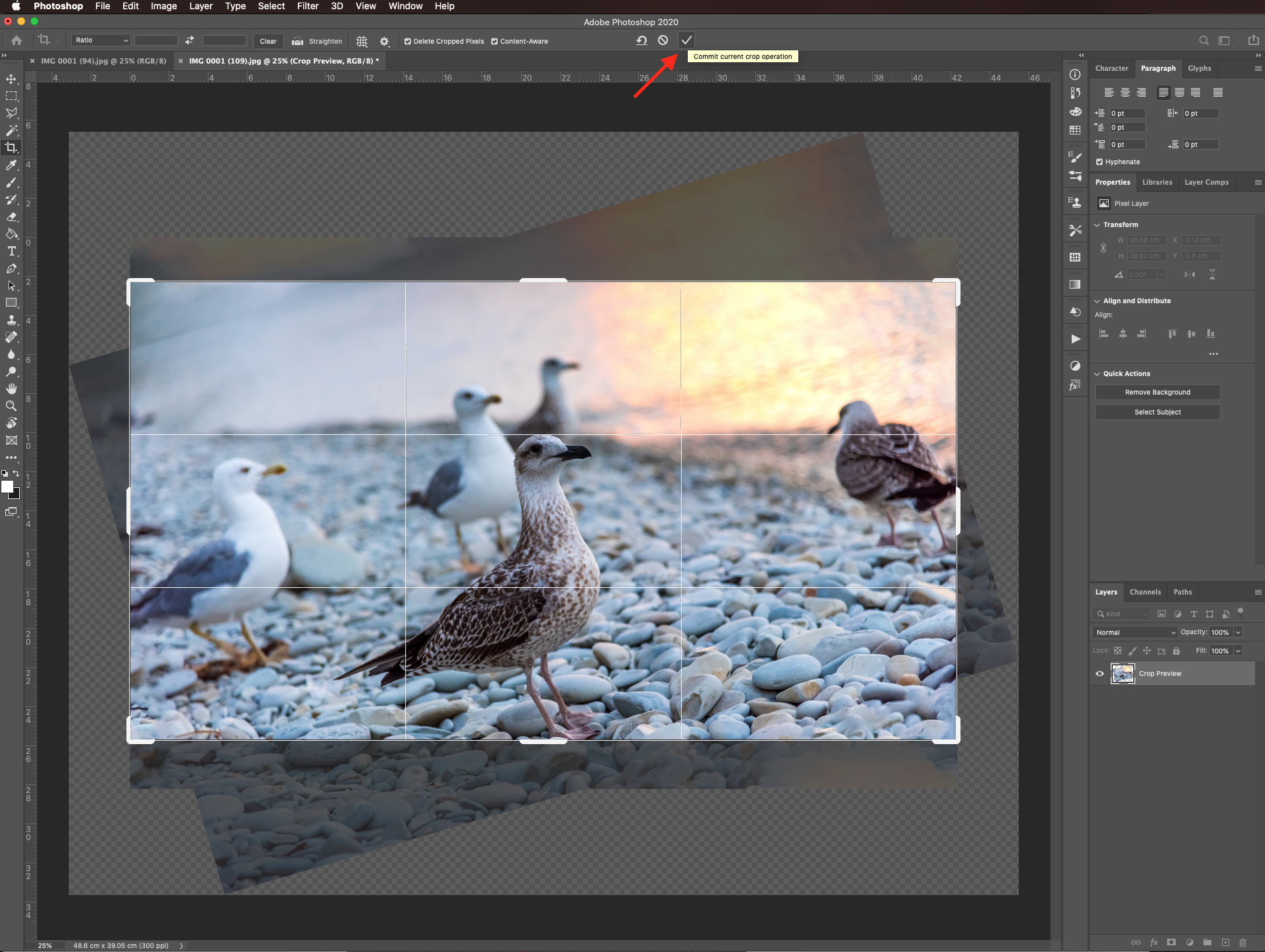 Commit changes in Photoshop