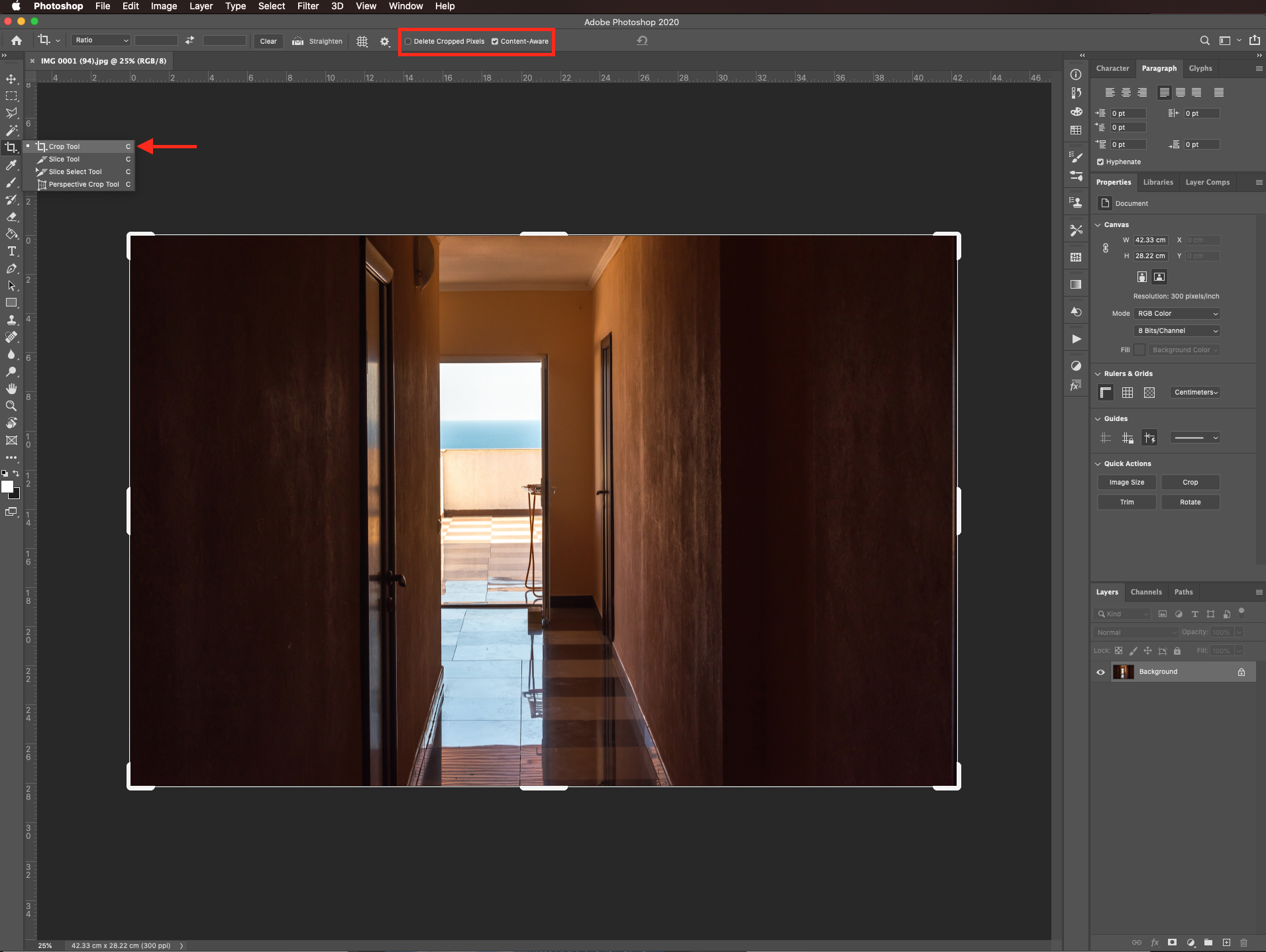 Expand image with content aware crop Straightened image in Photoshop