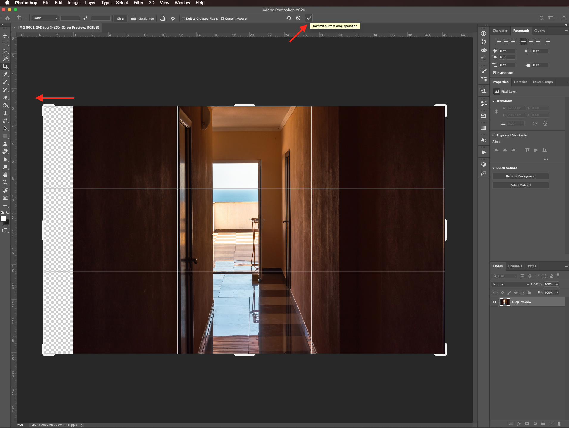 Commit changes to cropped image Straightened image in Photoshop