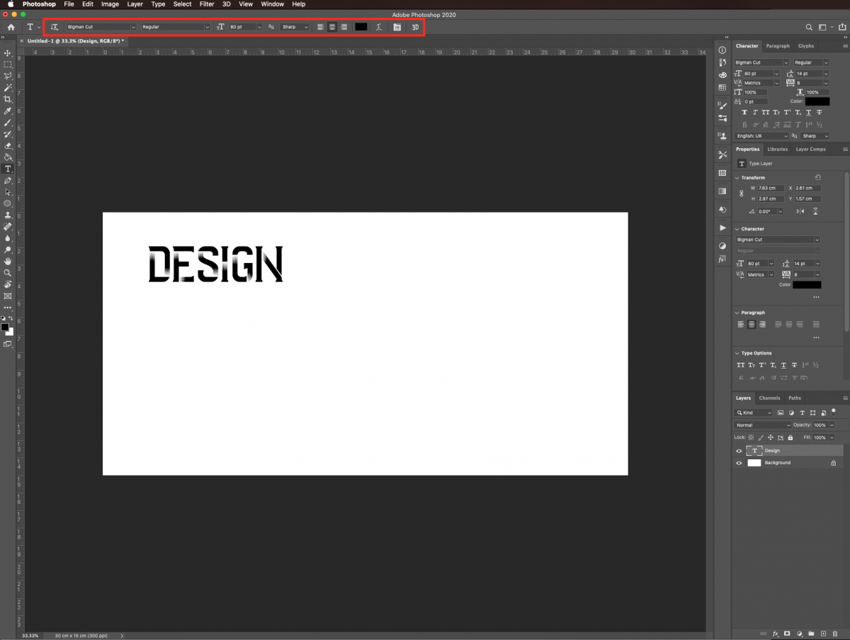 Type text in Photoshop