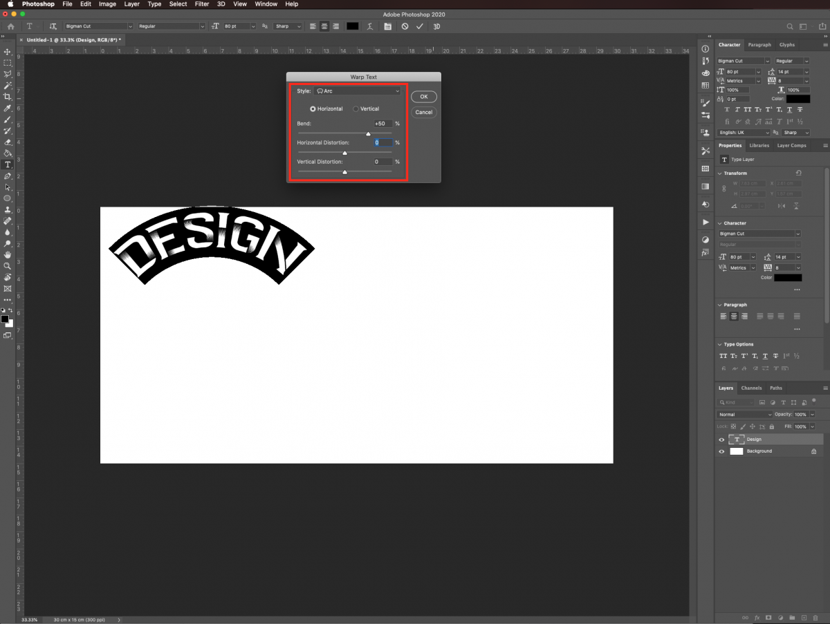 Warp text settings in Photoshop