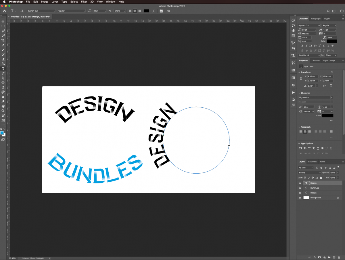 Pasted text in Photoshop