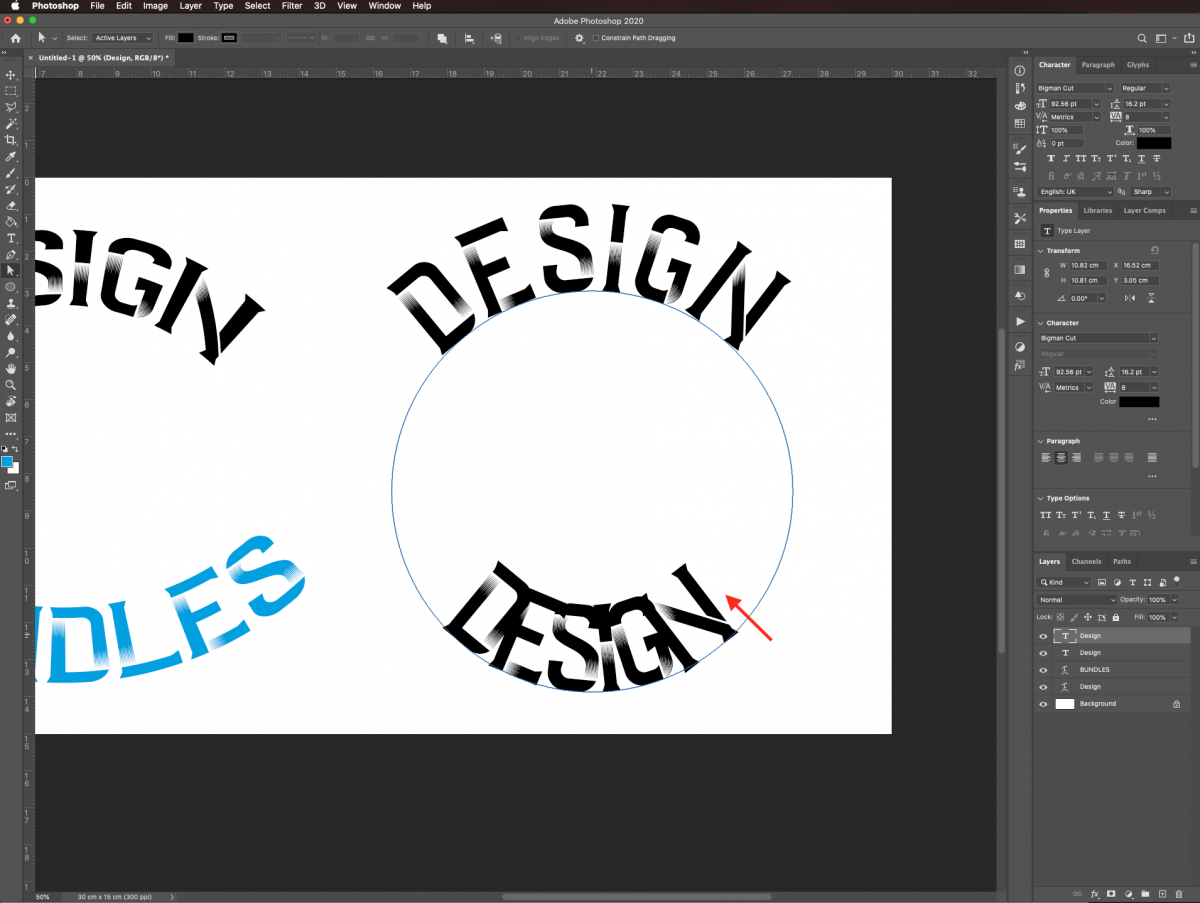 Place text inside path in Photoshop