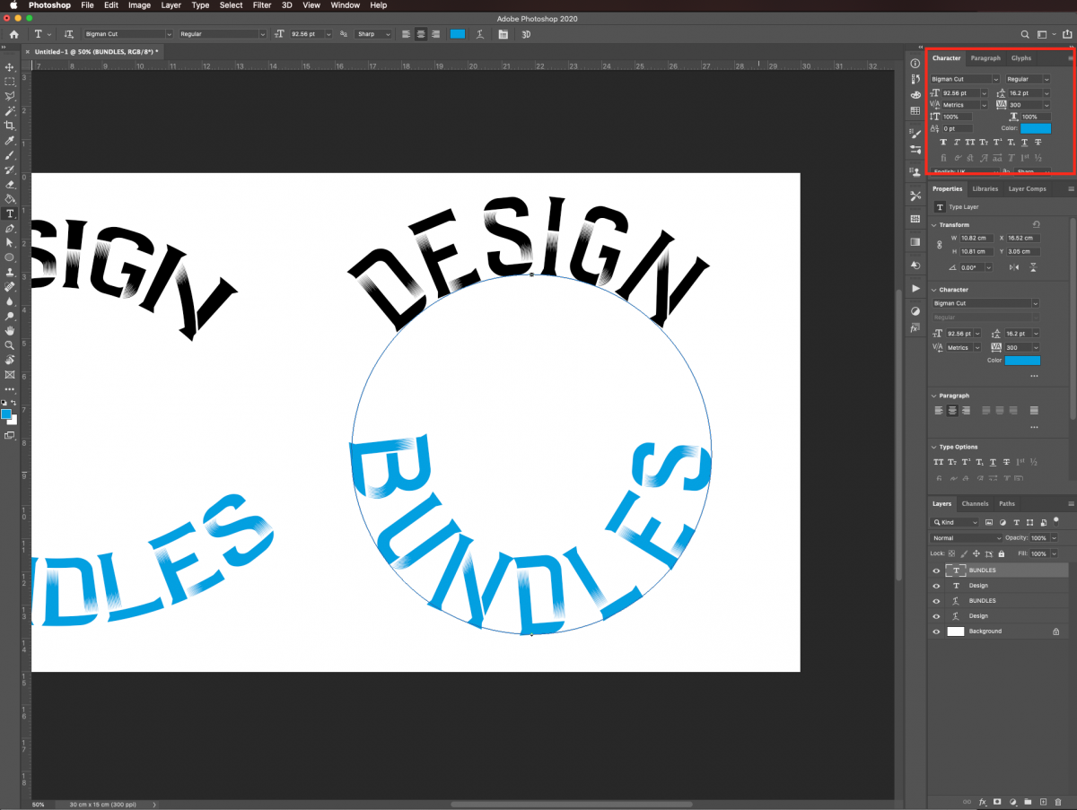 Adjust text settings in Photoshop