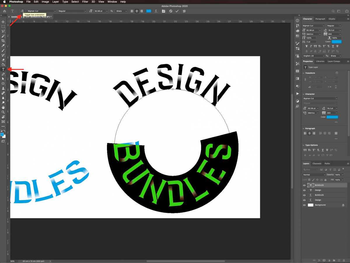Toggle text orientation in Photoshop