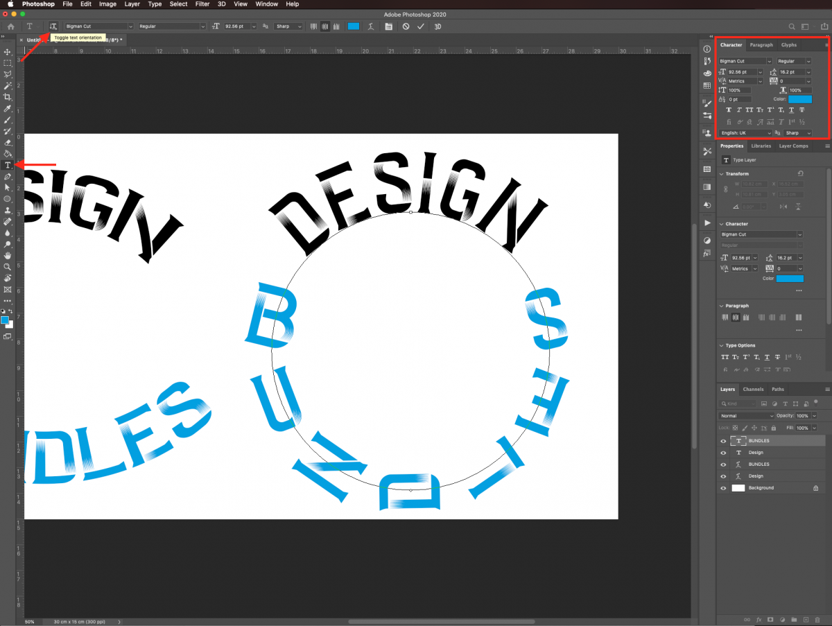 Change text settings in Photoshop