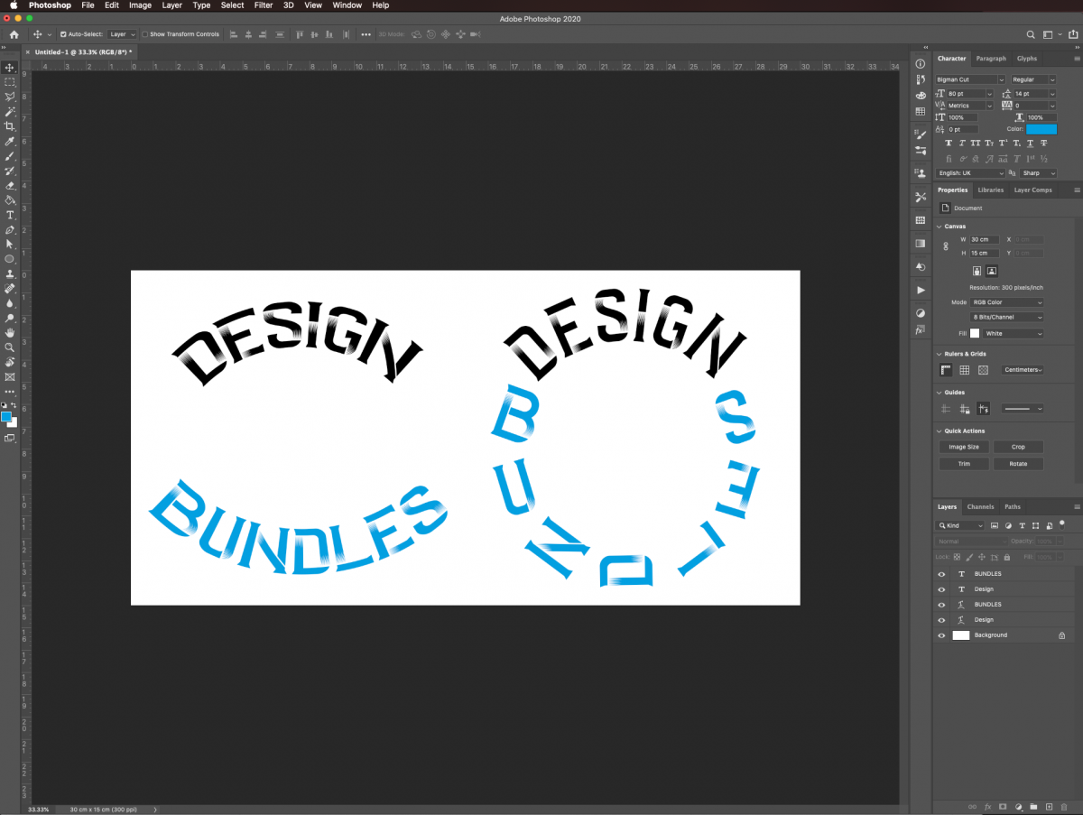Curve text in Photoshop