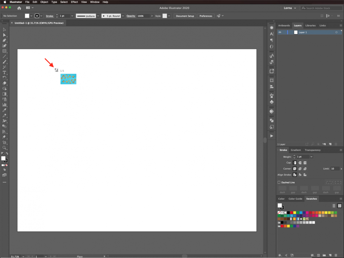 Click to place in Illustrator