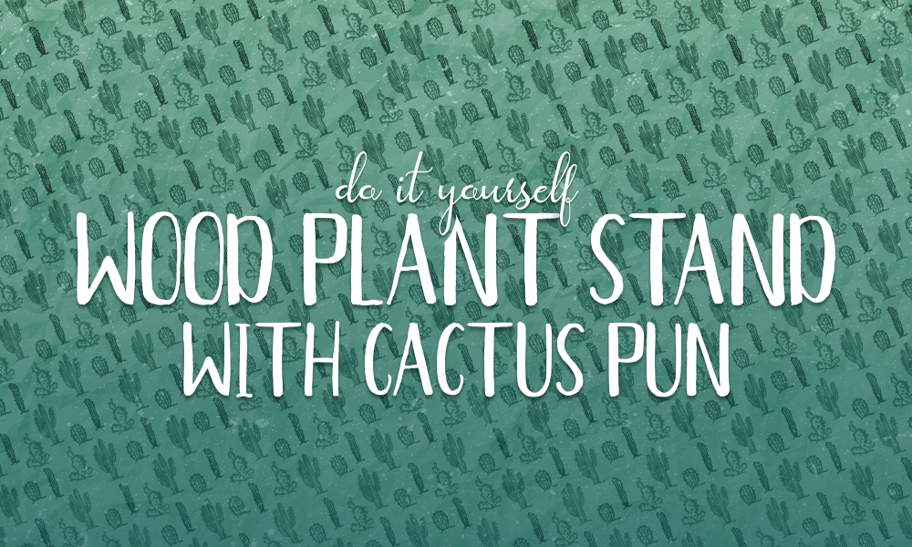 DIY Wood Plant Stand with Cactus Pun