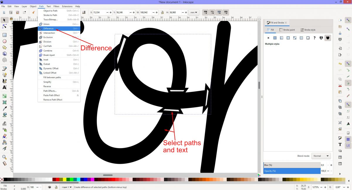 Difference tool Inkscape
