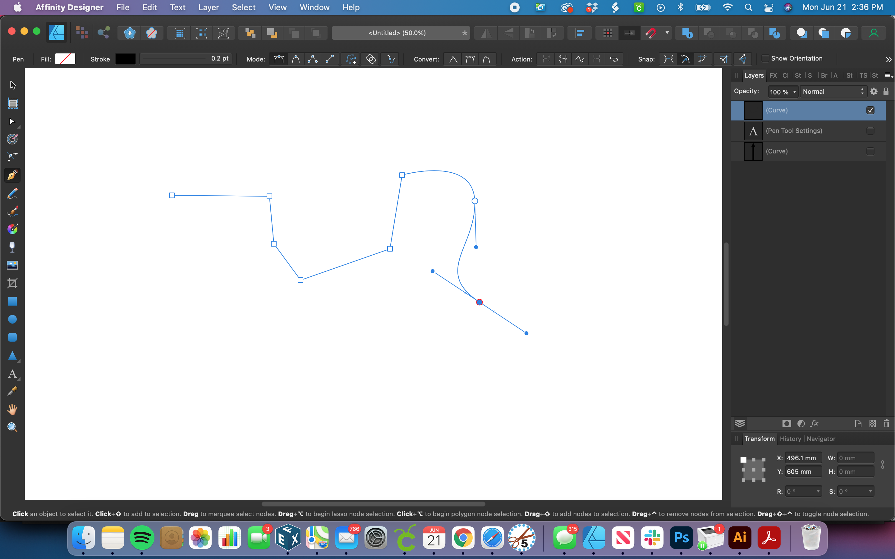 Dragging to create a curved node Affinity Designer