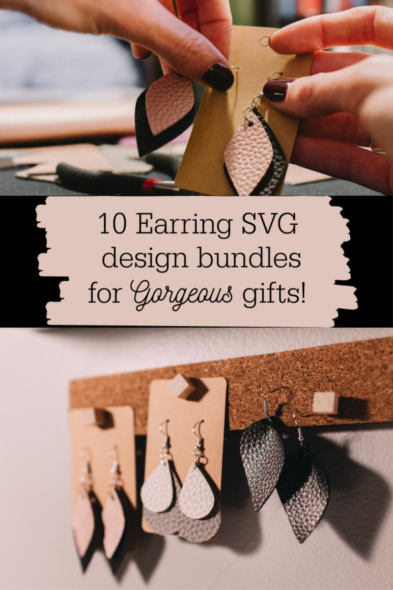 10 earring SVG design bundles for gorgeous gifts or to sell. Leather or Wood earring designs