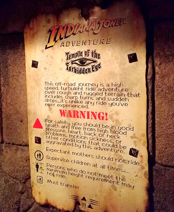 Type of Disneyland: Indiana Jones Warnings