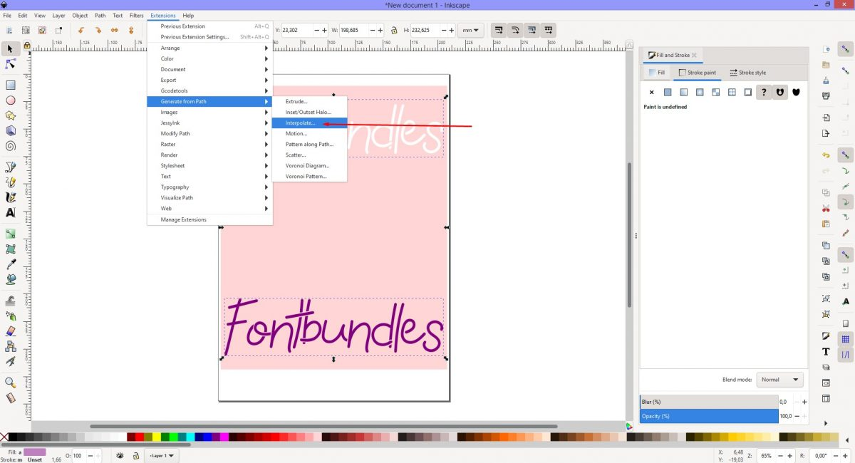 Select Interpolate Inkscape