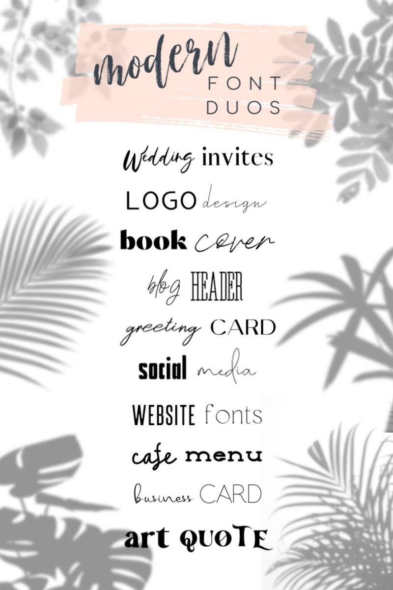 Modern Font Duos for simple branding, graphic design, crafting, weddings