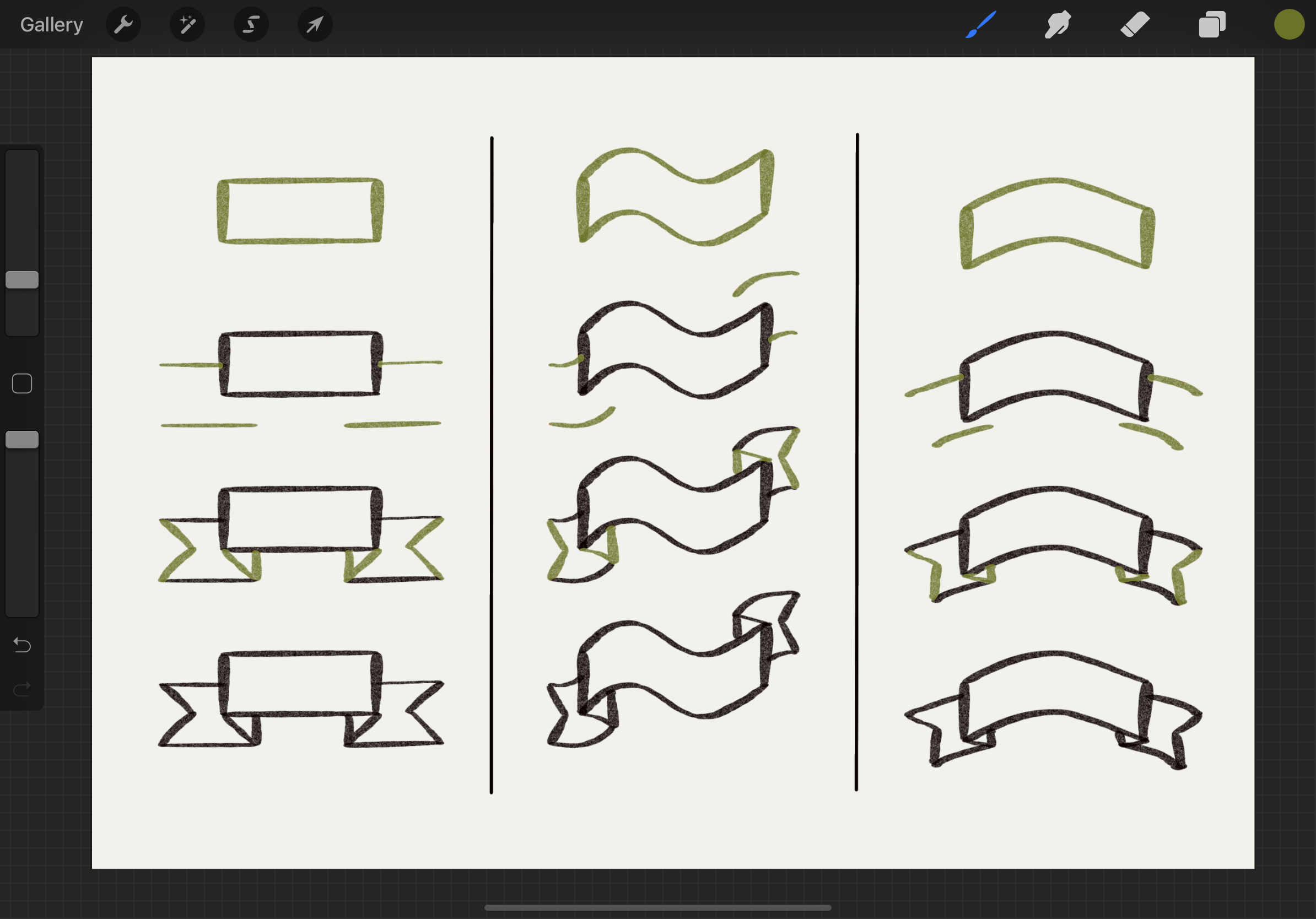 Ribbon Banners with Folds in Procreate
