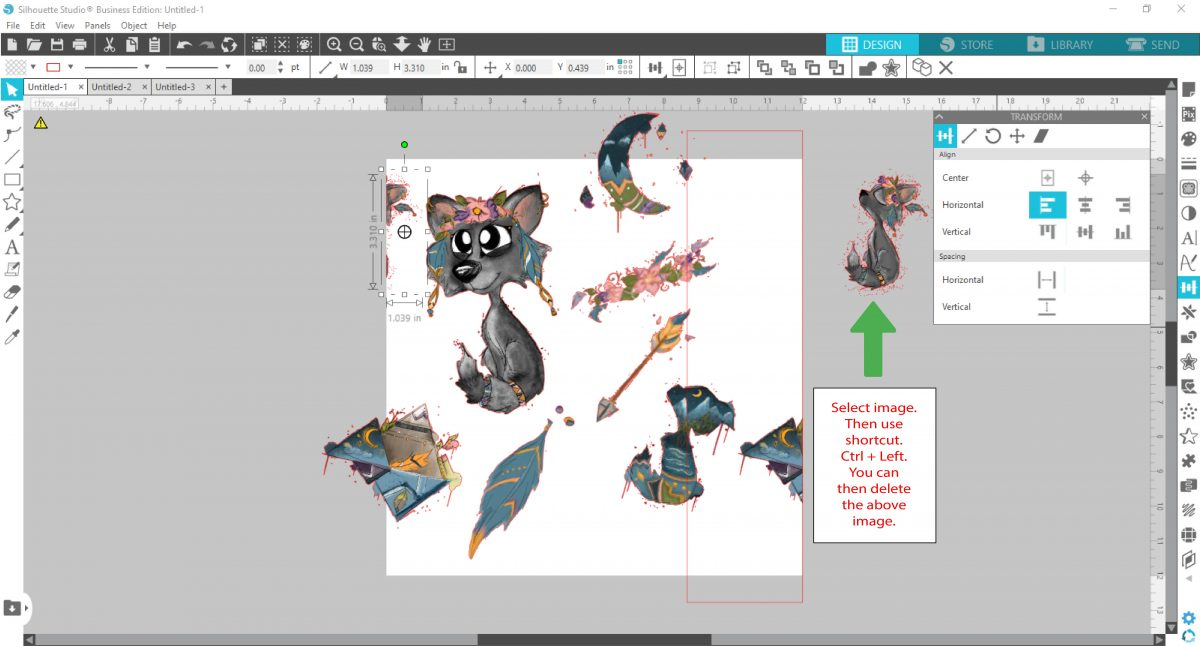 duplicating and aligning a image in silhouette studio