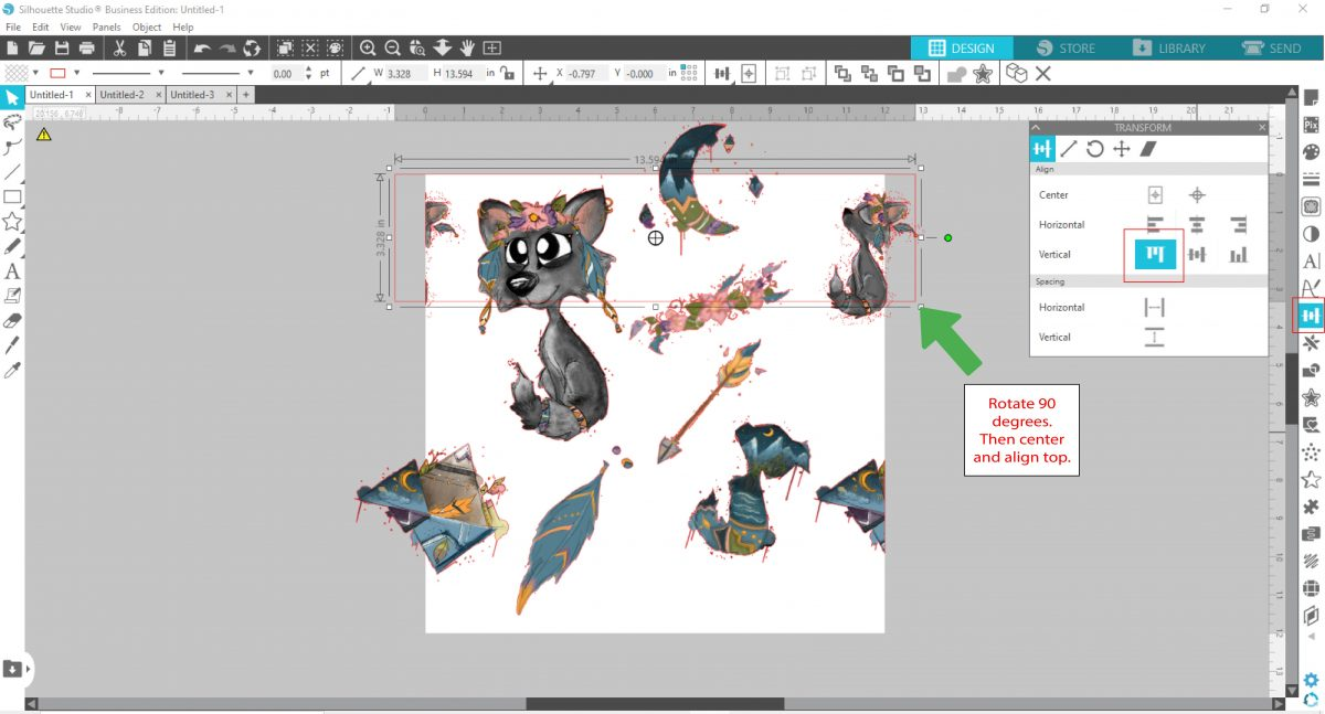 rotate and align to the top in silhouette studio