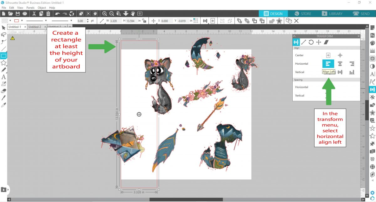 Create and align a rectangle in silhouette studio