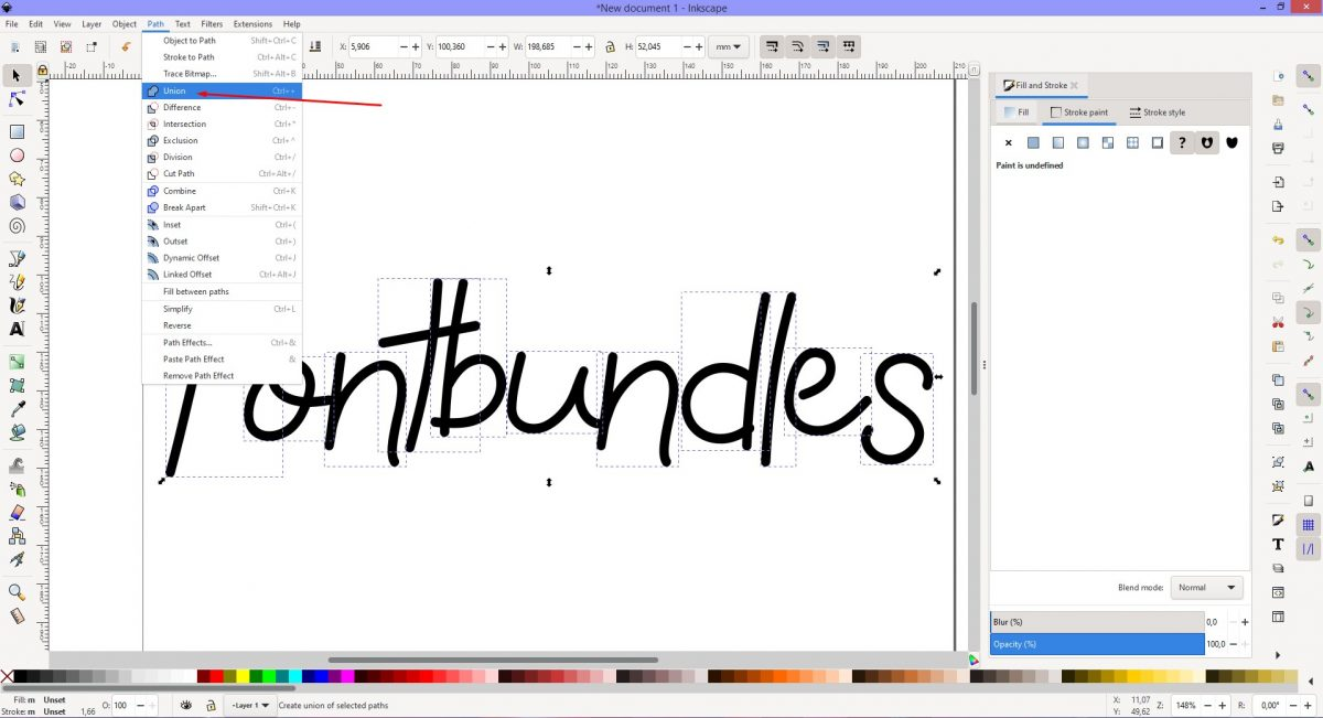 Click on Union to combine Inkscape