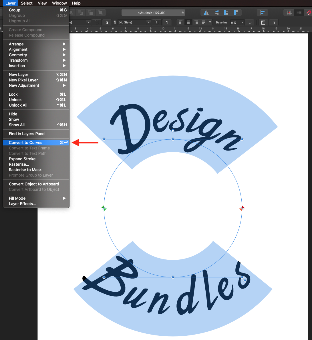 Convert text to curves Affinity Designer