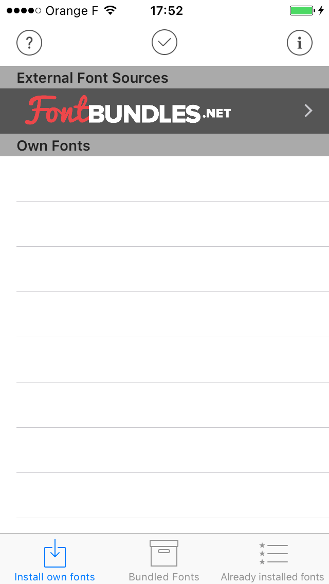 launch anyfont on iphone
