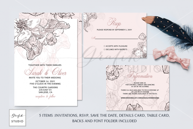 Design Your Own Wedding Invitations Template: Simple Graphic Sets For Unique Wedding Invitations