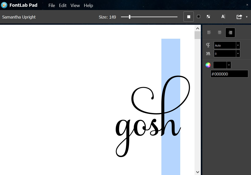 Program Comparison: FontLab Pad paste