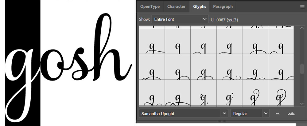 Program Comparison: Illustrator Glyphs menu